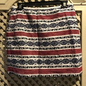 Madewell red white and blue mini skirt sz M